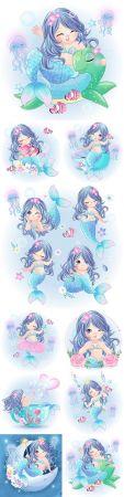 Sea mermaid drawn cute character beautiful illustration