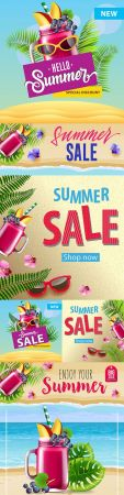 Summer sale banner with flowers and berry smoothie
