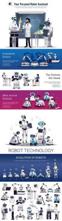 Evolution of robots and robotics collection banners