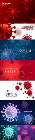 Coronavirus 2019 ncov background with realistic viral cells 5