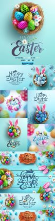 Happy Easter eggs in nest poster and banner template