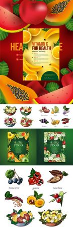 Healthy food and useful salads design flyer template