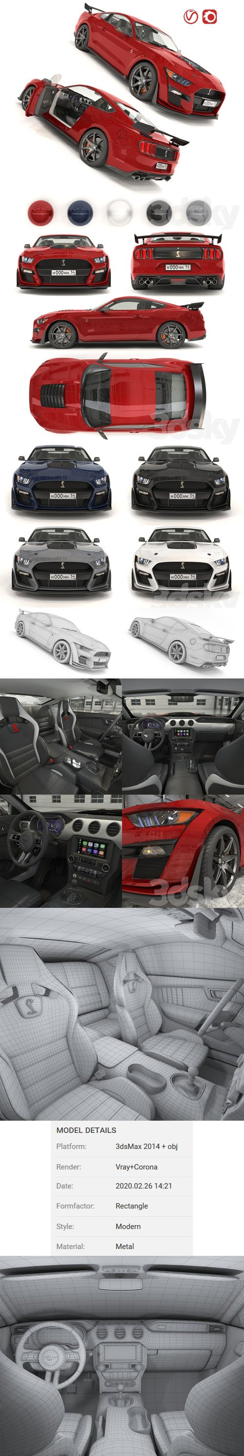 Ford Mustang Shelby GT500 2020 with HQ Interior