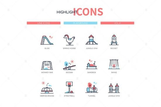 Playground elements   line design style icons set
