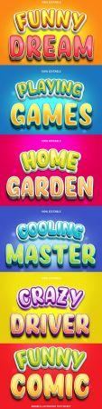 Editable font effect text collection illustration design 89