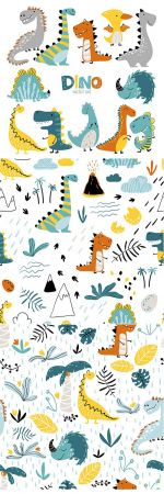 Dinosaurs set in cartoon scandinavian style and Pattern