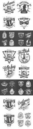 Vintage monochrome design gentleman club labels