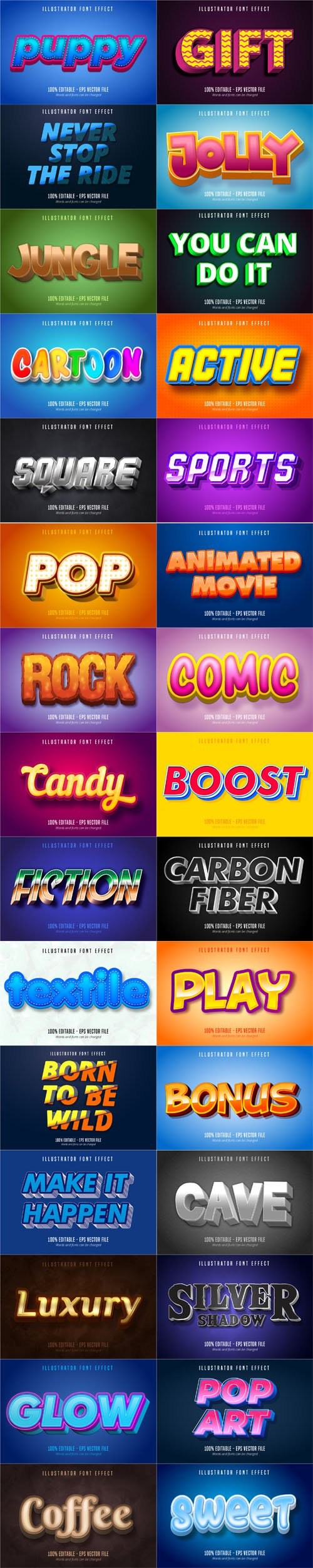Cartoon Style Font Effect Bundle Vol.1 - 30 Premium Vector Graphics
