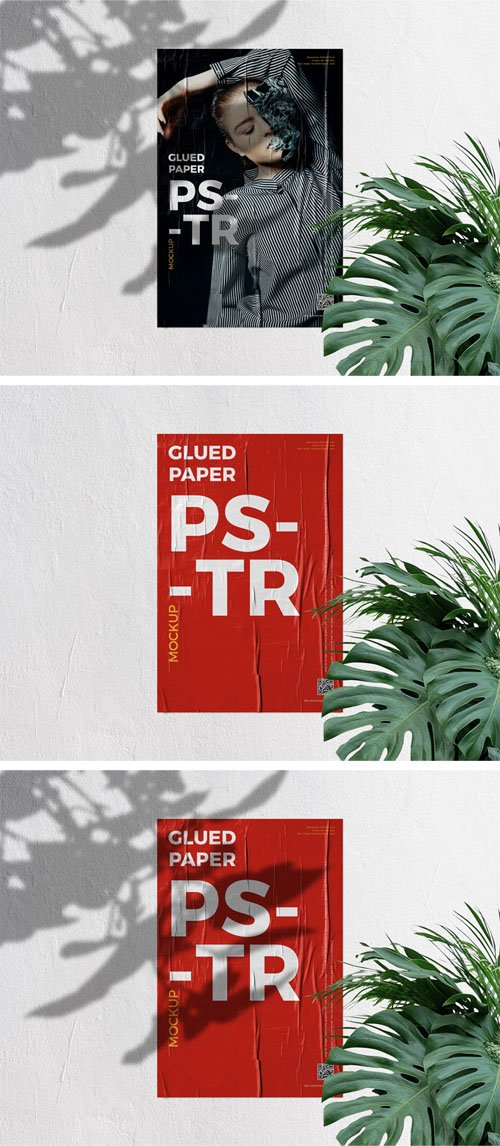 Glued Paper on Concrete Wall Poster PSD Mockup