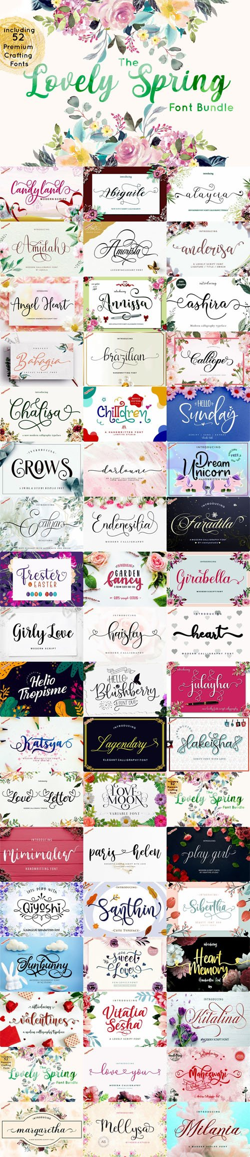 The Lovely Spring Font Bundle - 52 Premium Crafting Fonts