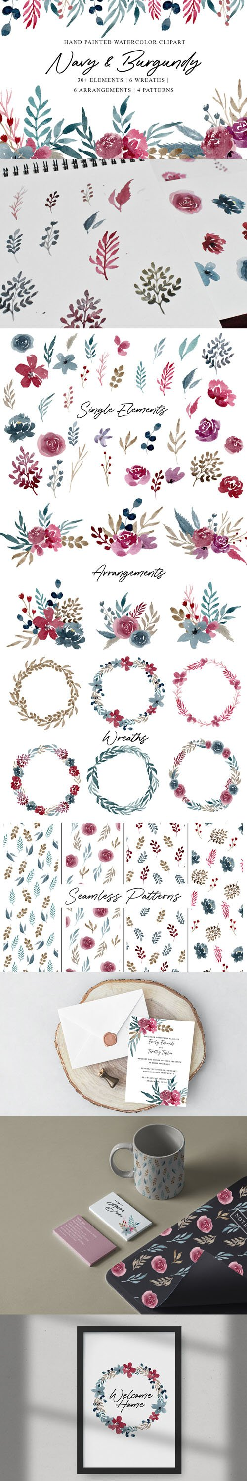 Navy & Burgundy - Hand Painted Watercolor Clipart PNG