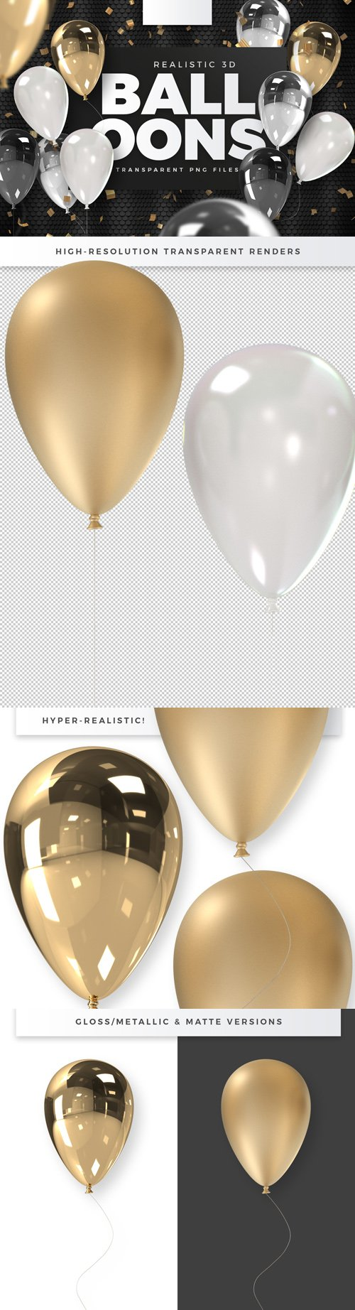 Realistic 3D Balloons - 3D Renders