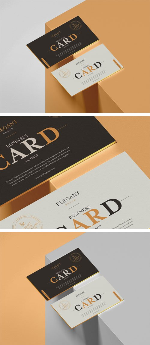 Elegant Brand Business Card PSD Mockup