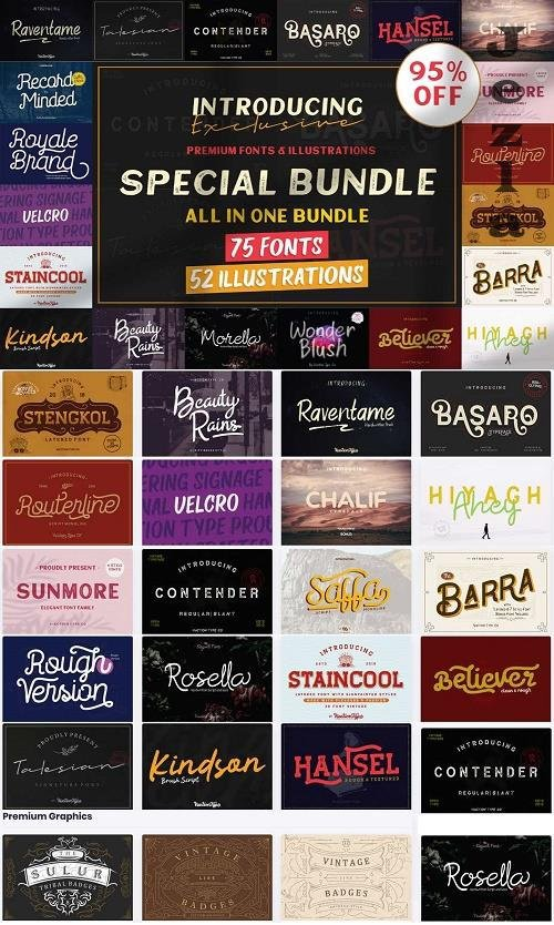 Special Bundle - All in One Bundle - 75 Fonts - 52 Illustrations