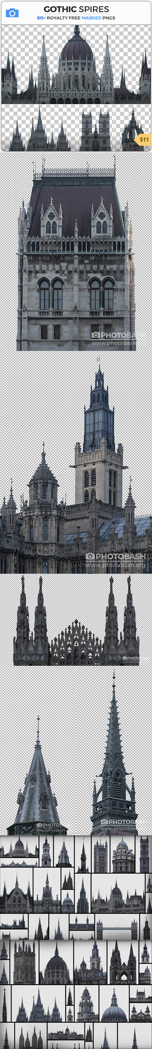 GOTHIC SPIRES - 60+ Royality Masked PNGs + Photoshop Shapes CSH
