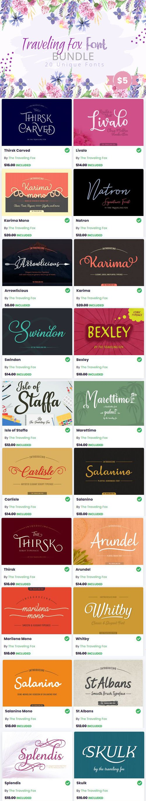 Traveling Fox Font Bundle - 20 Premium Fonts Collection