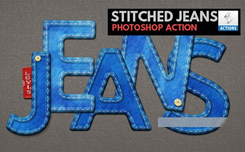 Realistic Stitched Jeans with Denim Effect - Photoshop Action & Brushes