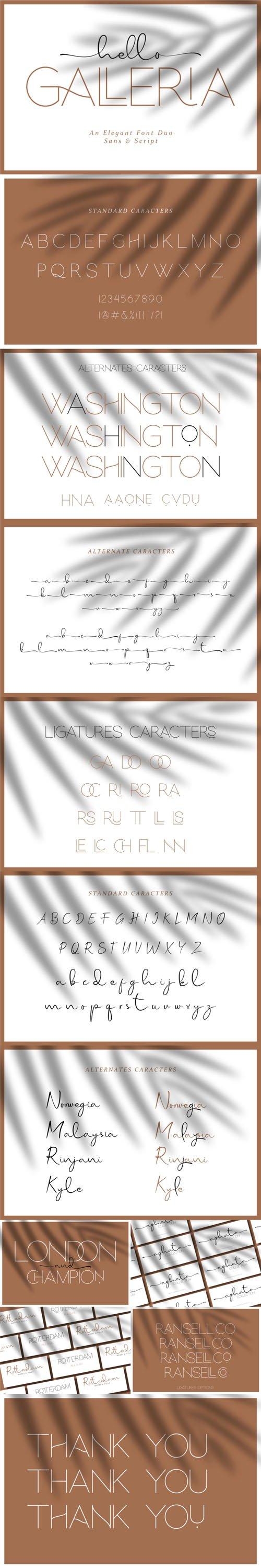 Hello Galleria - An Elegant Duo Sans & Script [2-Weights]