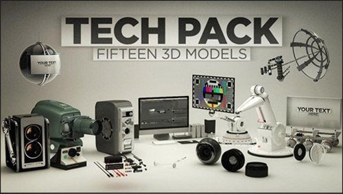 3D Tech Pack for Cinema 4D - 15 3D Models