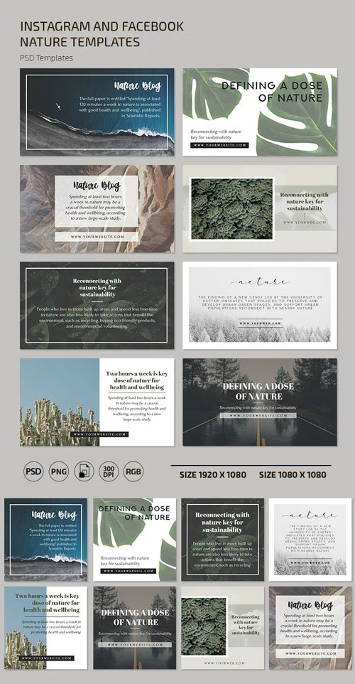 Instagram and Facebook Nature Banners PSD Templates