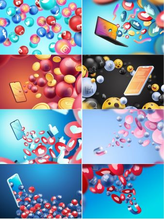 Social media 3d vector background