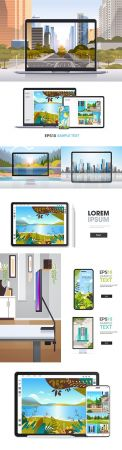 Graphic tablet and display screen with beautiful landscape