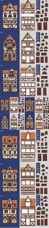 German houses, collection of elements, itemset, roof, windows, doors