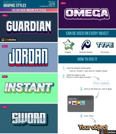 Graphicriver   Five Colorful Modern Text Graphic Styles for Illustrator 26850623