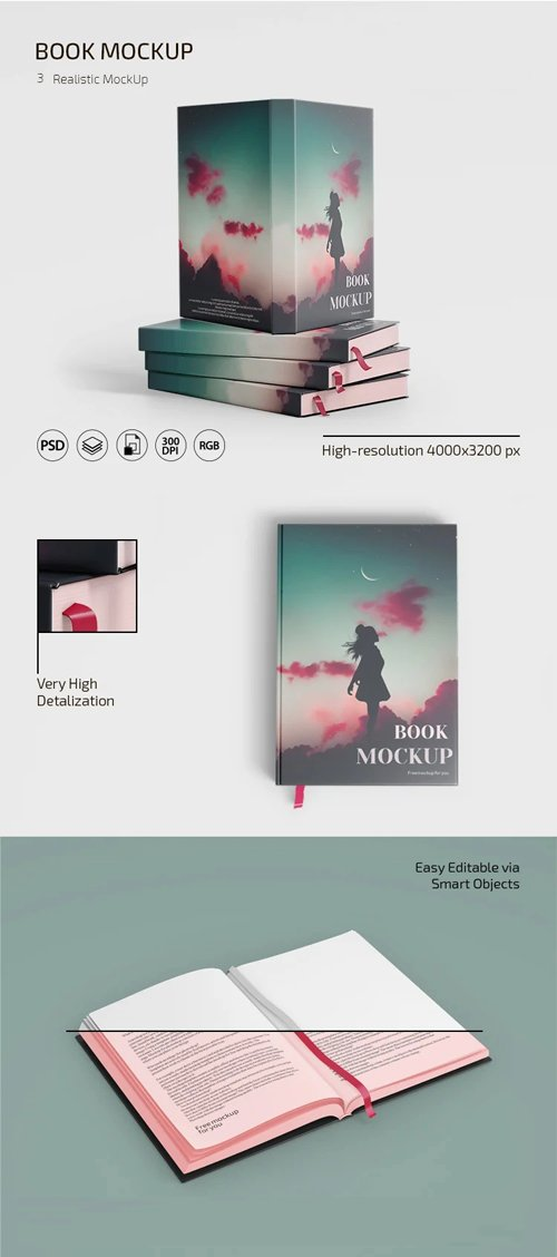 Book PSD Mockups - 3 Realistic Templates