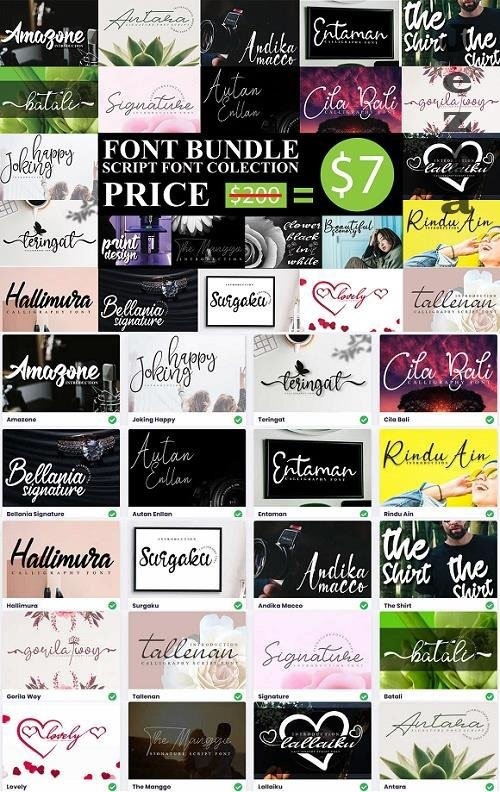 Script Font Collection - 20 Premium Fonts Bundle