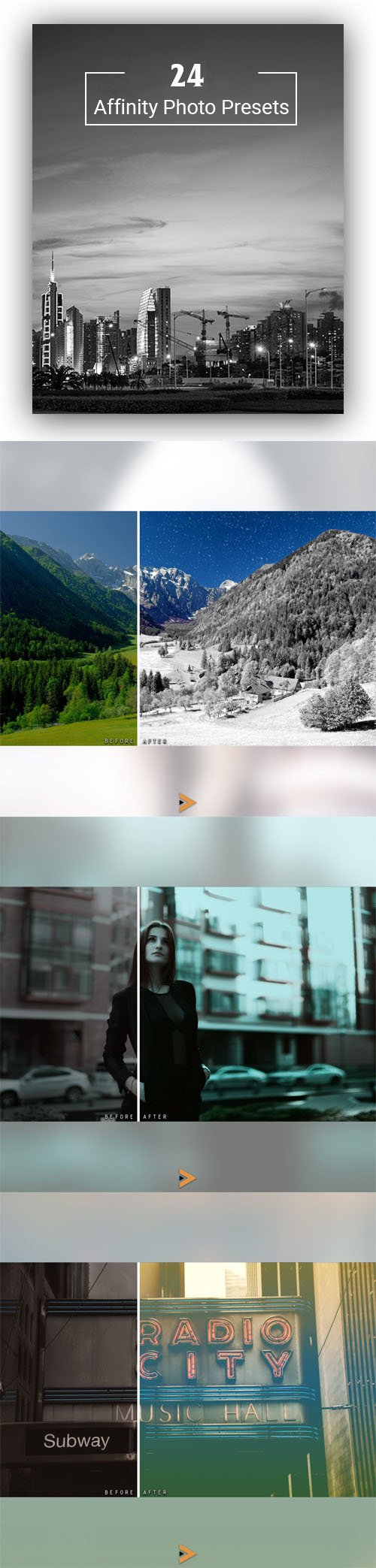 24 Affinity Photo Presets with 5 Categories