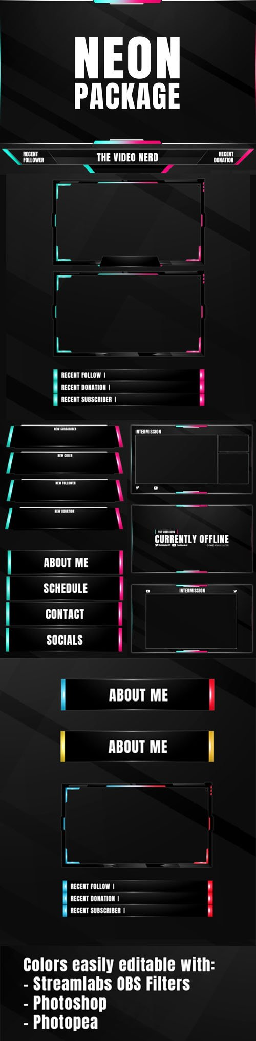 NEON Overlay PSD Package