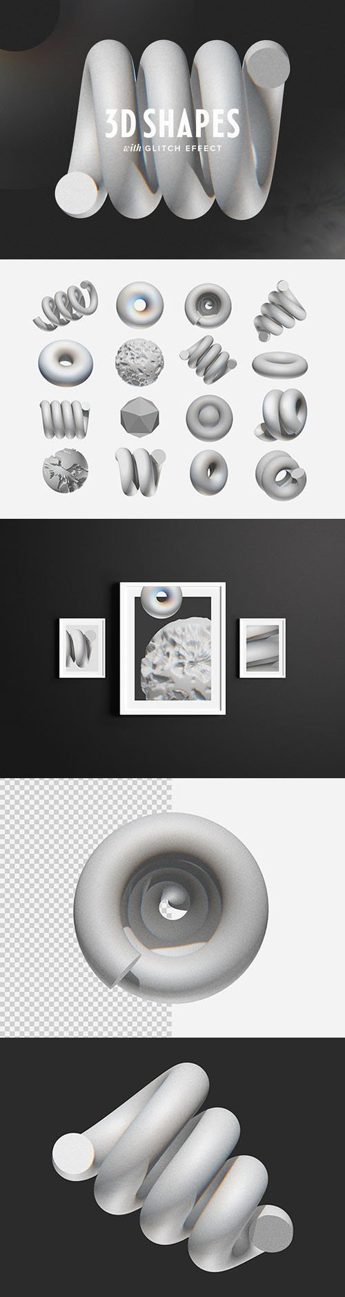 3D Shapes PNG With Glitch Effects