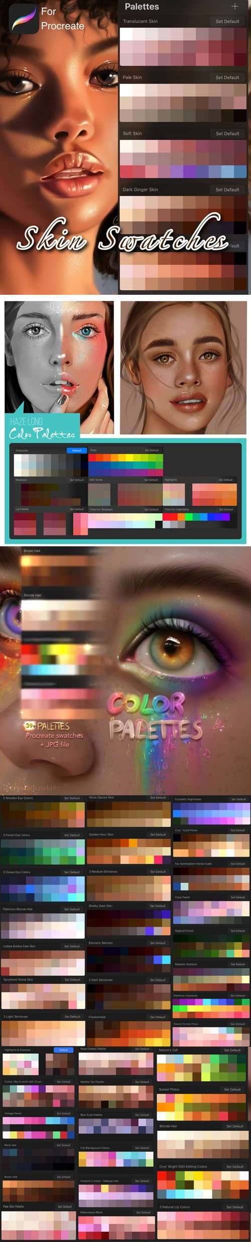 50+ Skin & Painting Portraits Swatches for Procreate