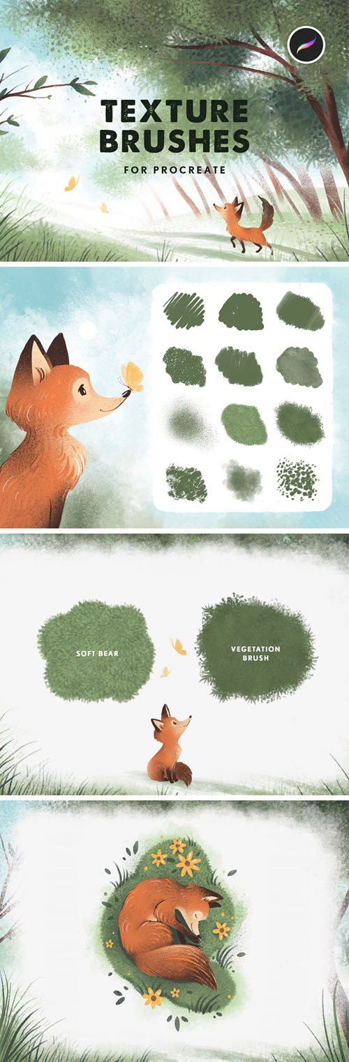 12 Texture Brushes for Procreate