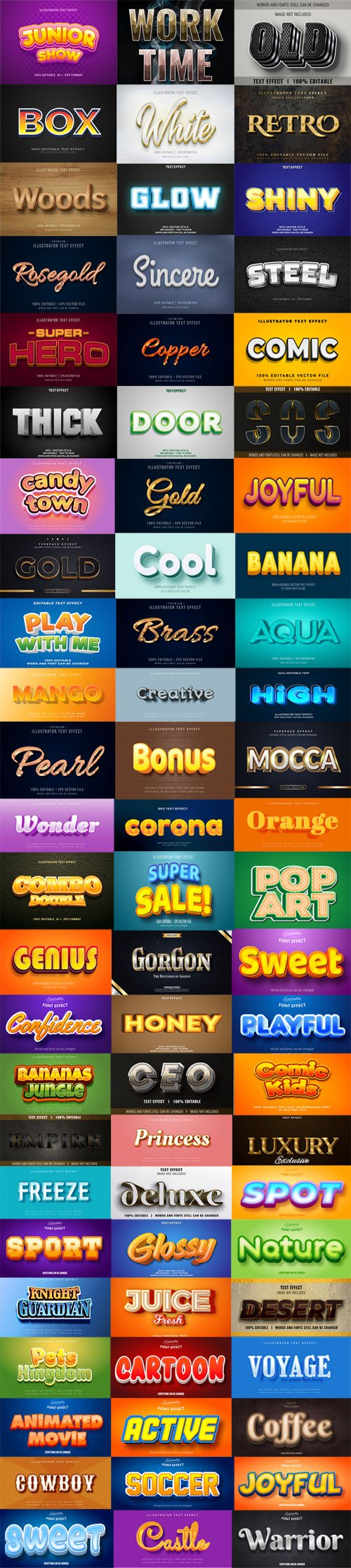 Editable Illustration Font Effects Bundle [Pack-2] - 74 Font Effects