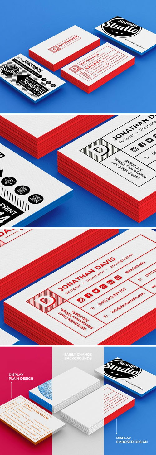 Pack of Business Cards PSD Mockup