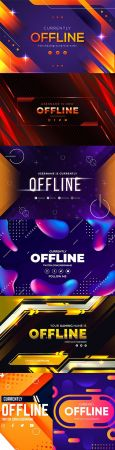 Offline banner abstract design in different styles