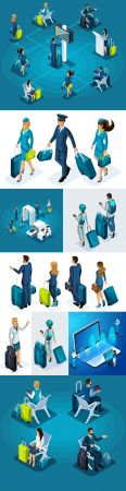 Girl and man at airport with suitcases isometric illustrations