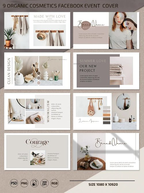 9 Organic Cosmetics Facebook Event PSD Cover Templates