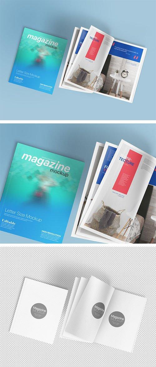 Magazine Mockup - Letter Size PSD Template