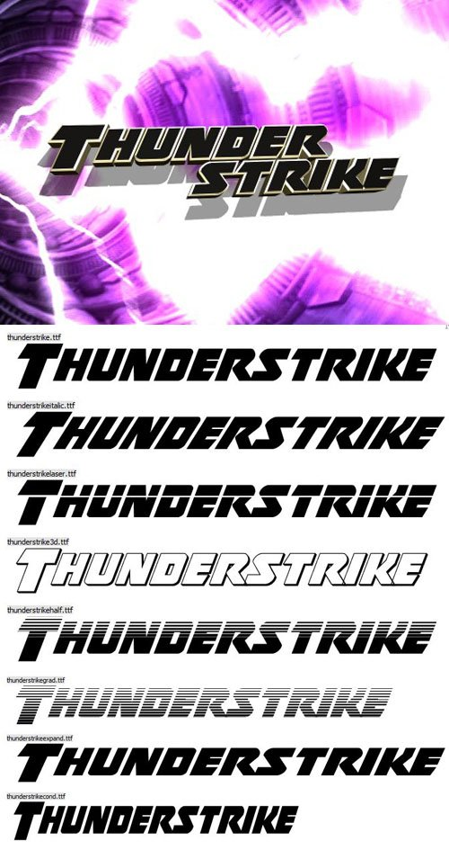 Thunderstrike Font Family [8-Weights]