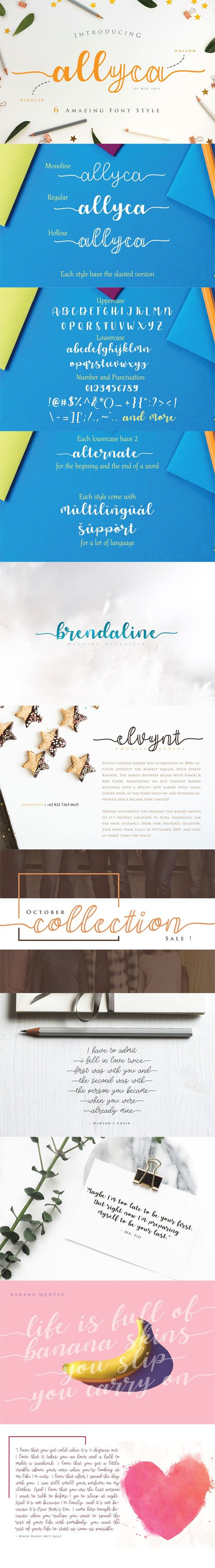 Allyca Script Font Family [3-Weights]