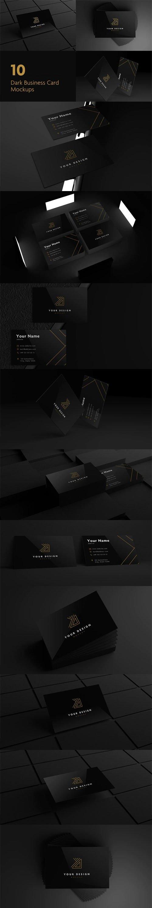 10 Black Business Card PSD Mockups