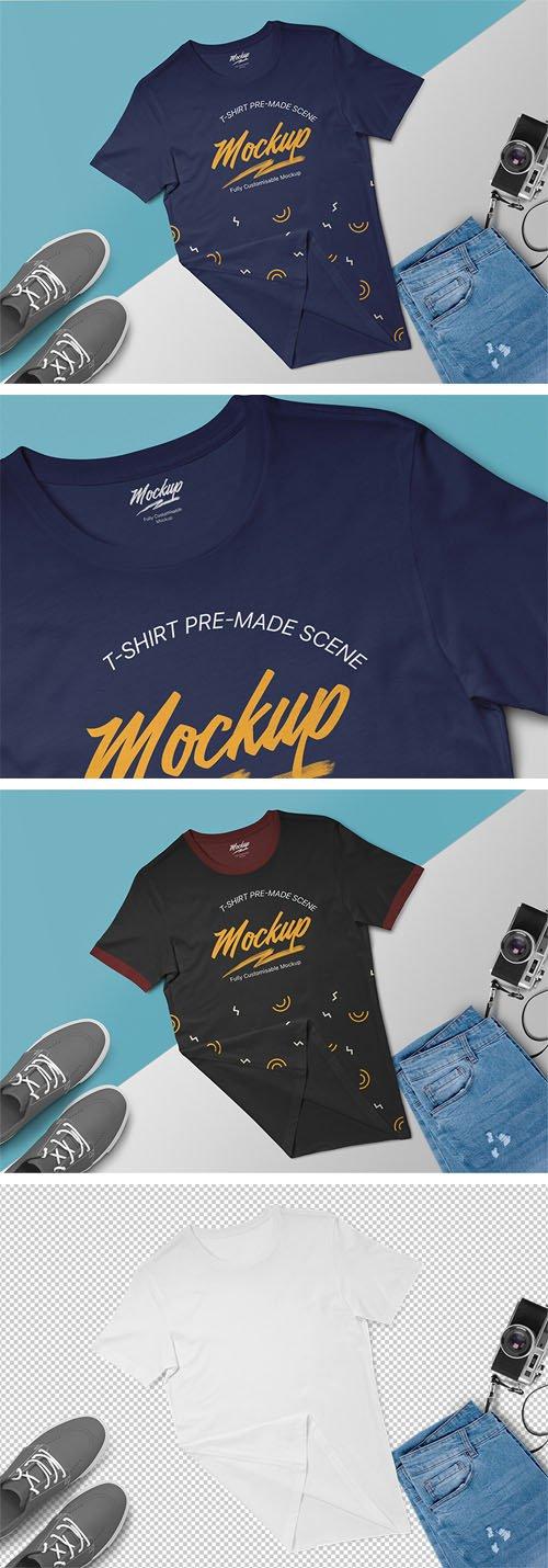 T-Shirt Pre-Made Scene PSD Mockup