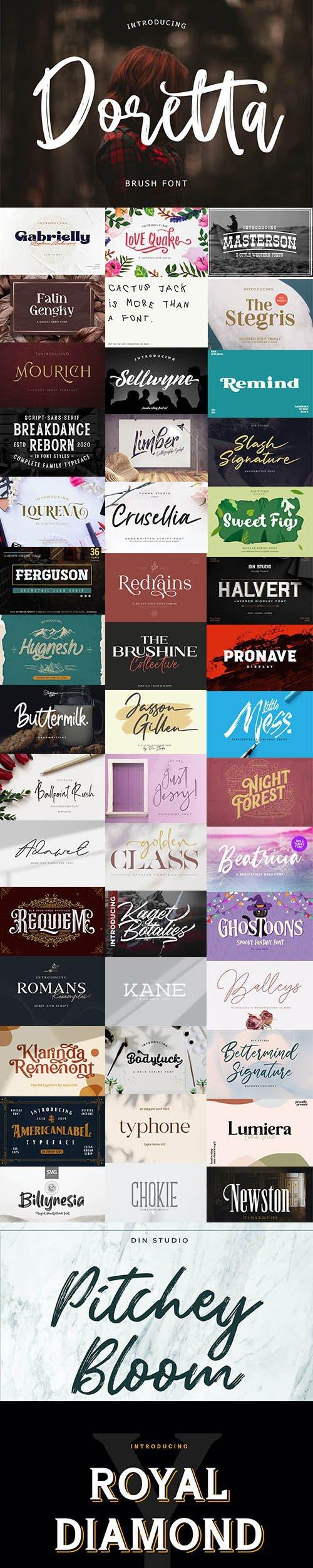 48 Modern Fonts Pack + SVG Fonts