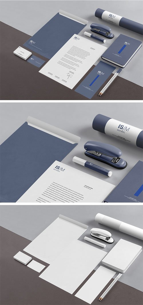 Isometric Stationery PSD Mockups Collection