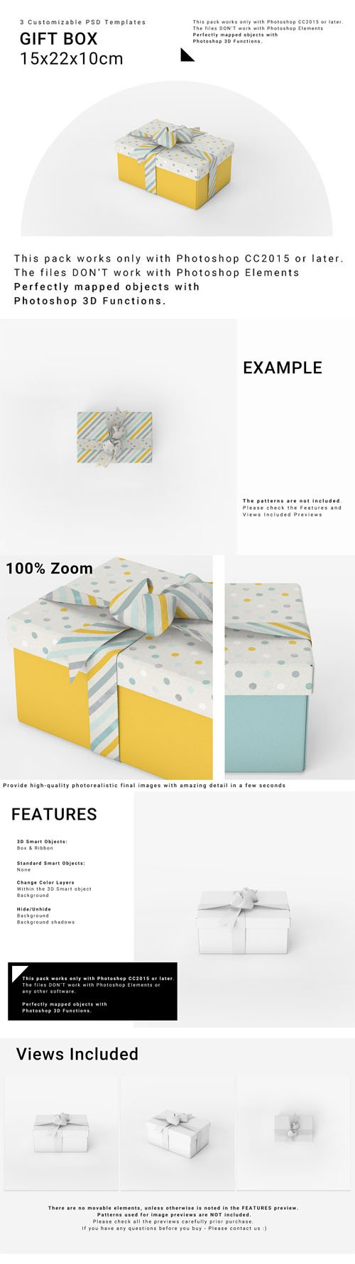 Gift Box Mockup - 3 Customizable PSD Templates