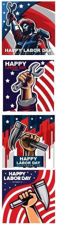 Happy Labor Day banner flat design illustrations 4