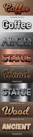 Editable font effect text collection illustration design 190